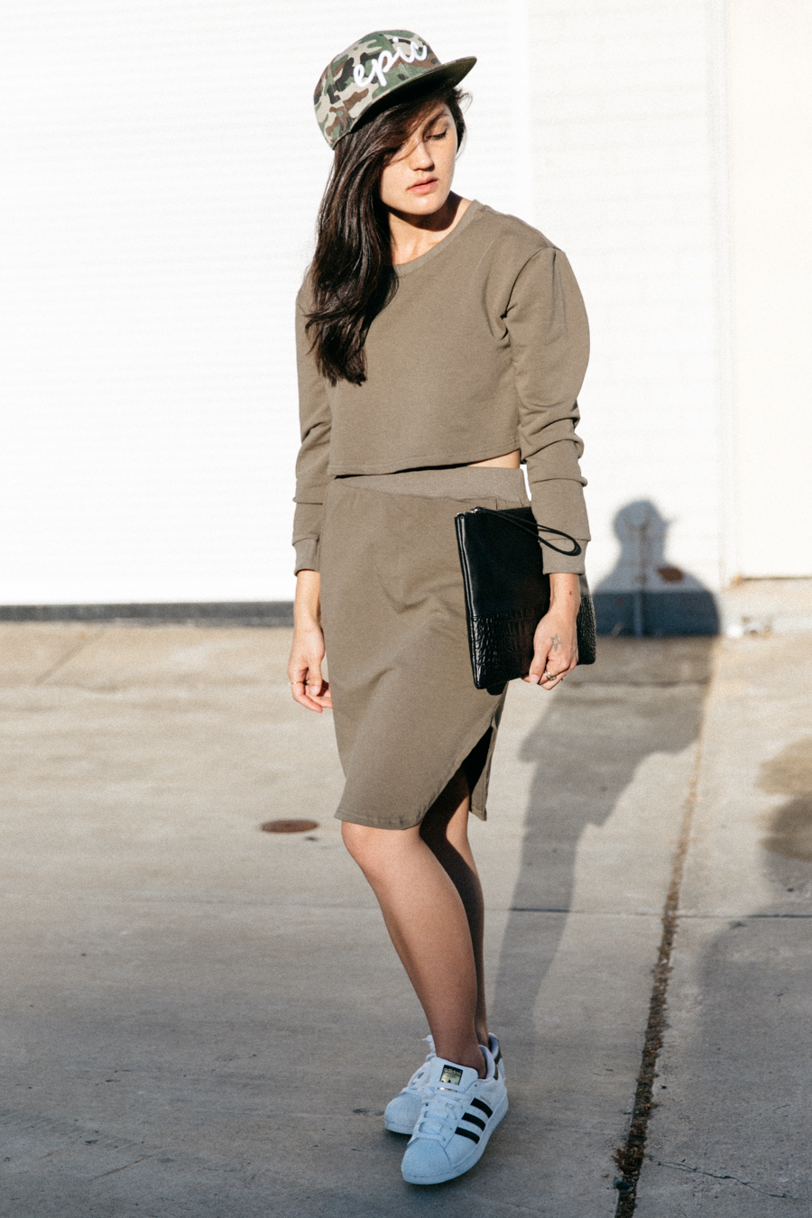 Khaki matching set. Sweater & top from Shein.