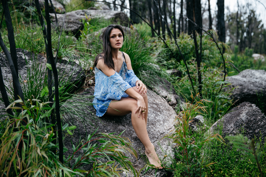 Australian fashion blogger jungle editorial. Blue bohemian outfit editorial. Gypsy style outfit.