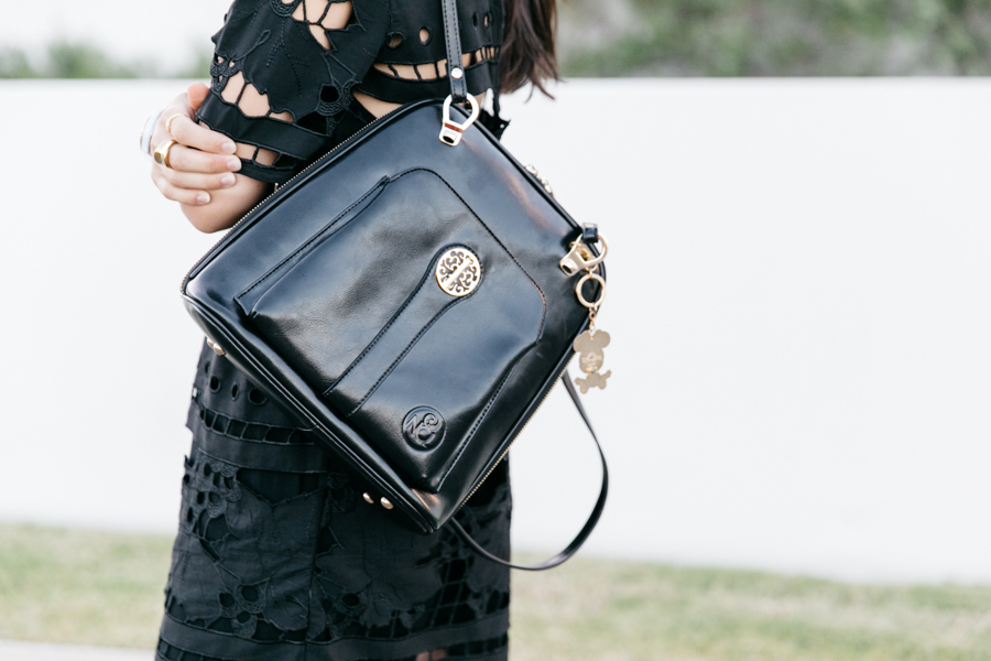Luxe leather backpack for women.