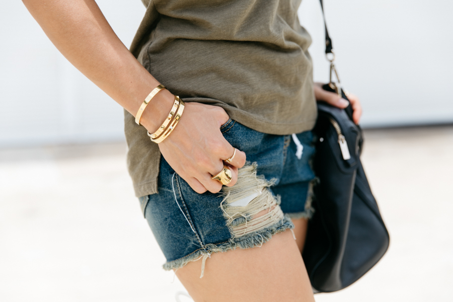 Gold bangles & ring accessories.