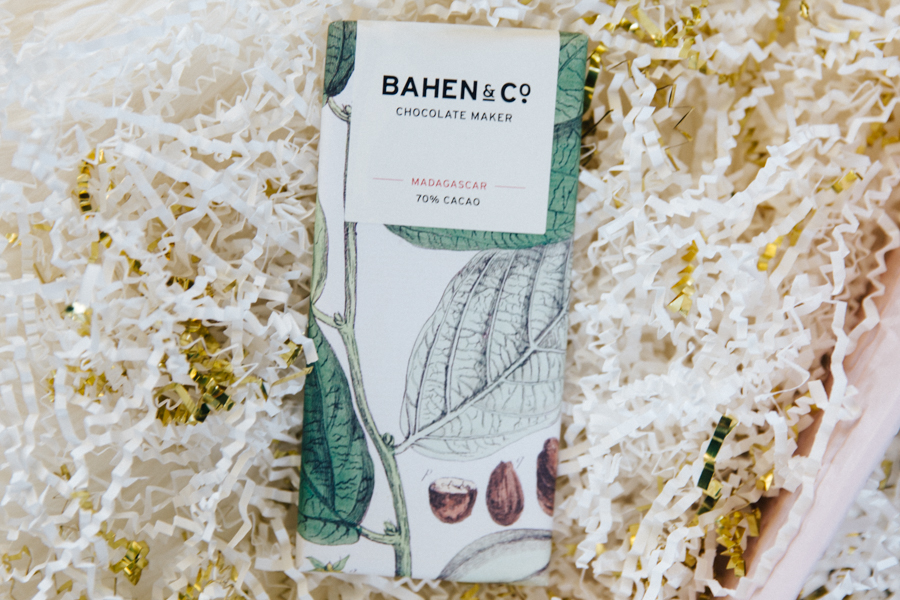 Bahen & Co chocolate in a custom gift box.