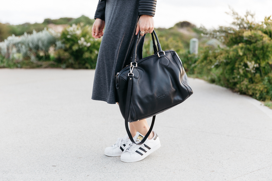 Grey stretch jersey midi dress with Adidas superstar.