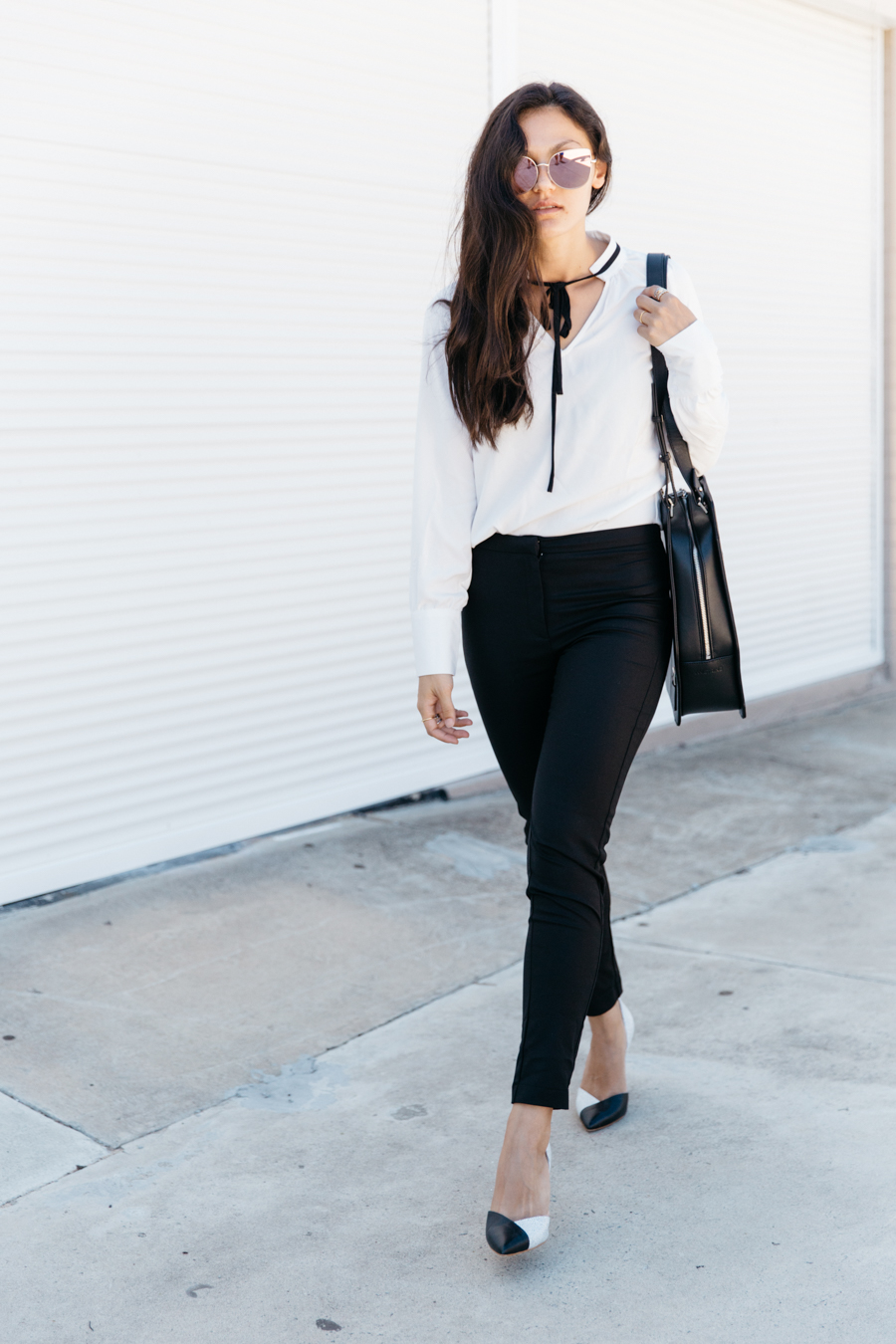 Girl boss outfit. Monochrome style. Perth fashion blogger.