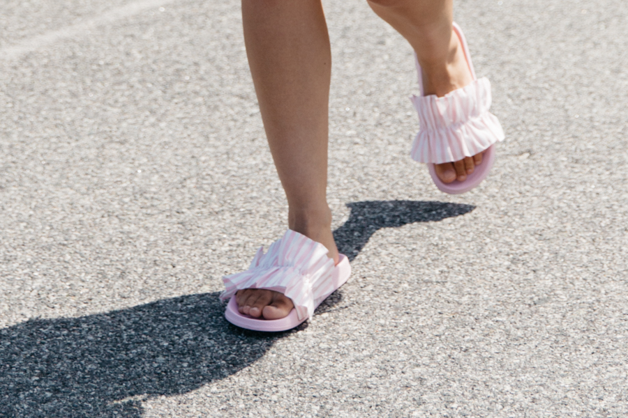 Pink & white striped ruffle slides sandals.