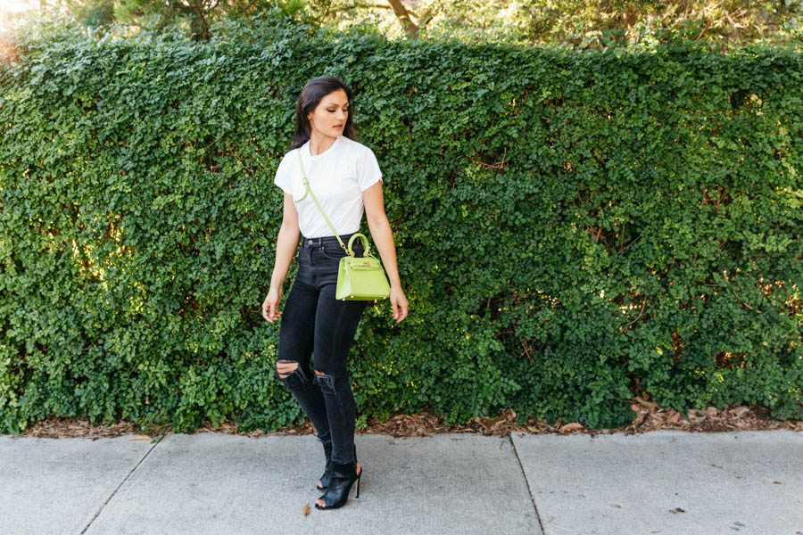 Casual chic outfit. Black jeans with white tee.