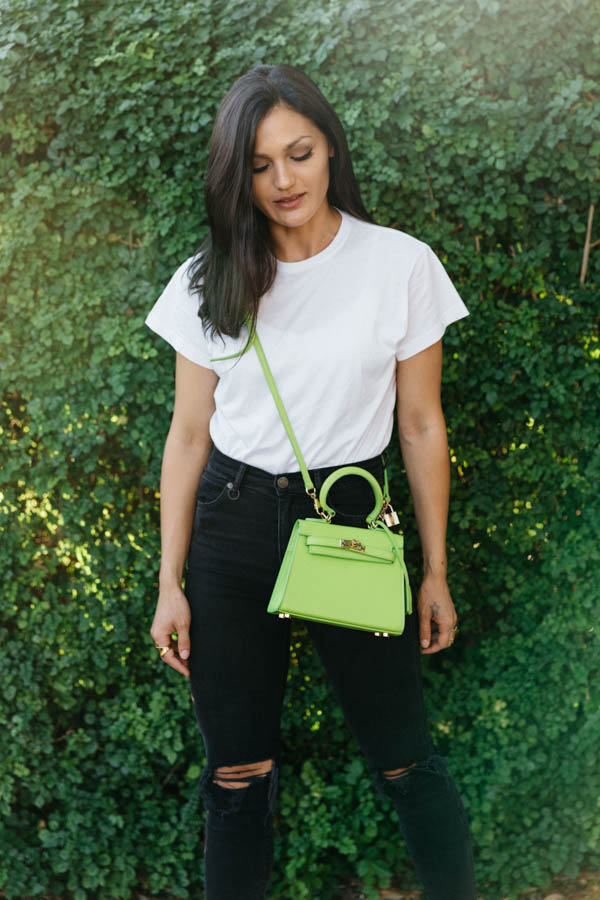 Lime green handbag outfit. Lime green cross body bag outfit.