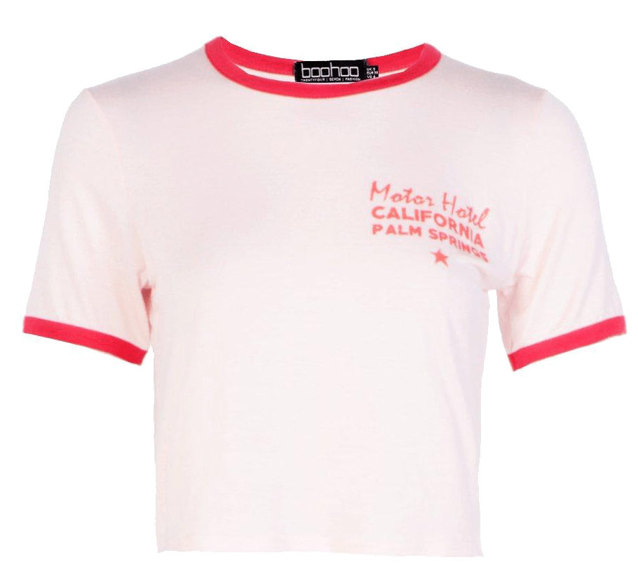 Pink slogan tee with red trim.