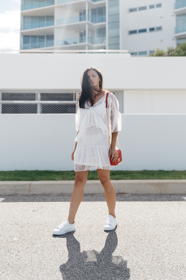 White lace dress outfit. Summer outfit ideas. White lace swing dress outfit.