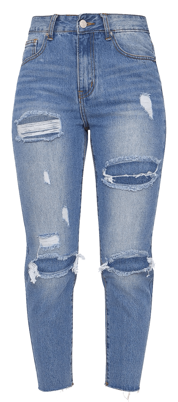 Distressed mom jeans.