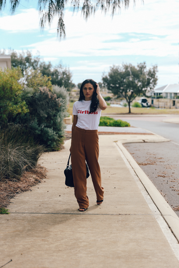 70s style outfit. Brown pants outfit with white tee.