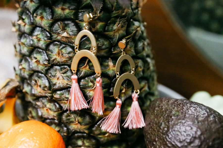 Gold earrings with pink tassels. Ana Luisa Jewelry review.