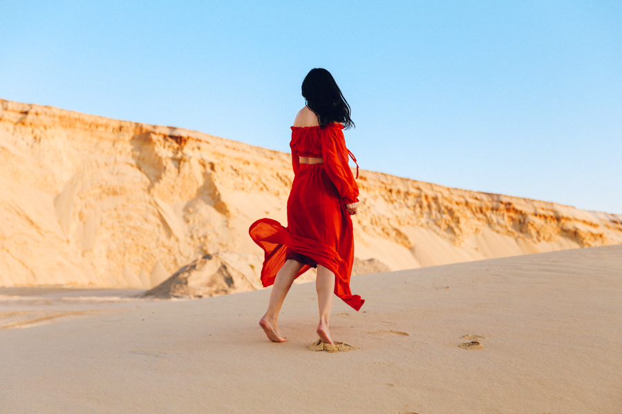 Red maxi skirt out. Red matching set. Australian fashion blogger editorial.