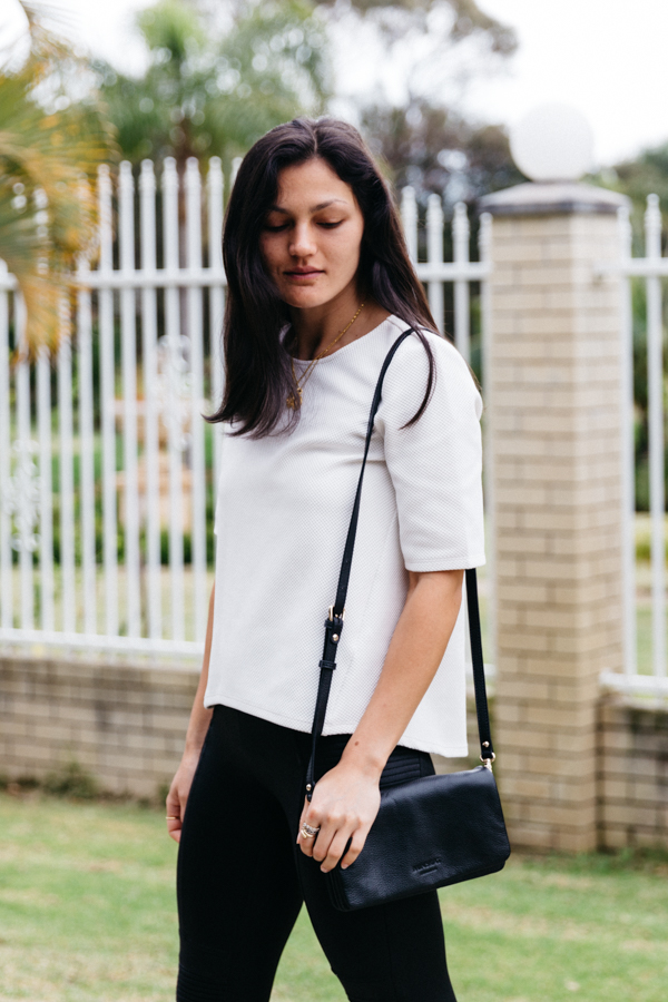 Monochrome outfit for running errands.