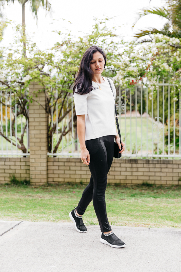 Black and white casual outfit.