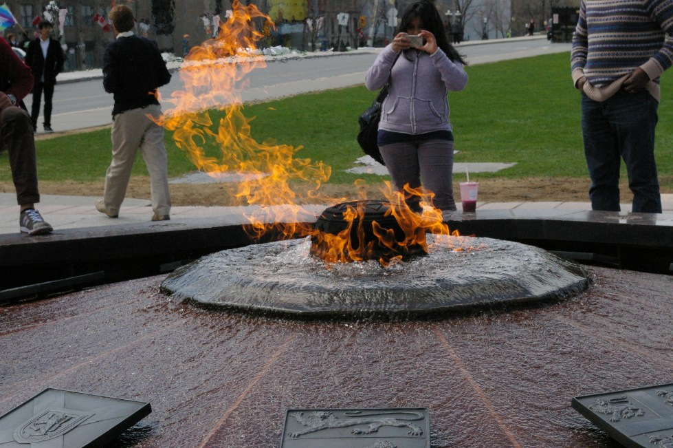 The flame outside of the Parliament Buildings