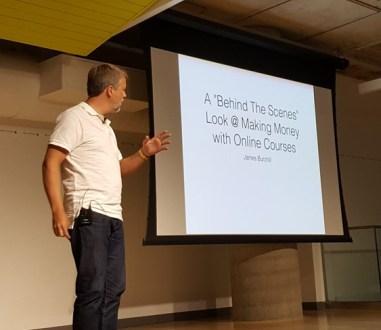 James presenting at Tweetstock '16 on Online Courses