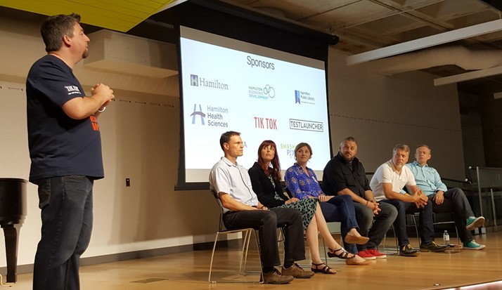 Trevor moderating the panel at the end of Tweetstock '16