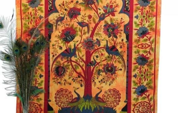 Tenture arbre de vie Jaune