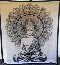 Tenture bouddha noir et blanche