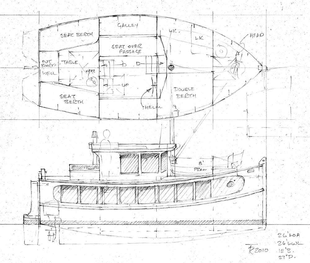 Plans for marjorie the house barge for Boat house designs plans