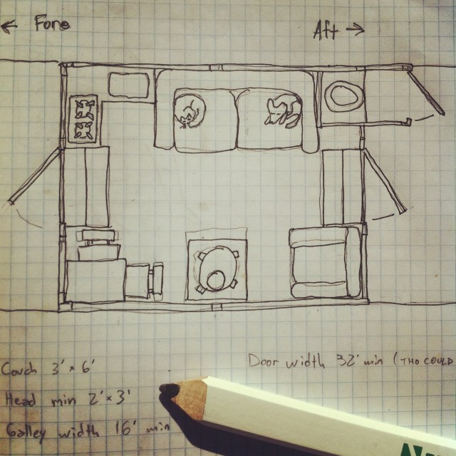 Wes Modes' Secret History Shanyboat - cabin plan