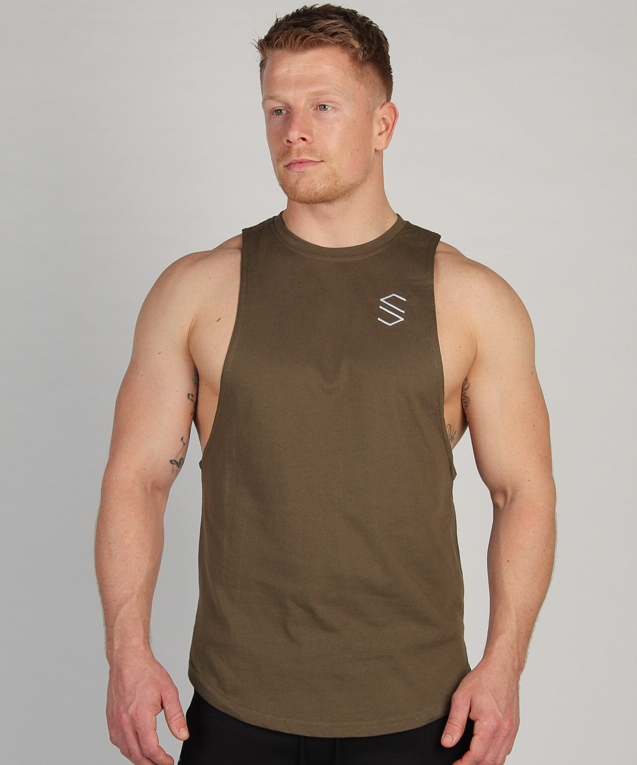 Shaped Split Cut Off T-Shirt - Khaki