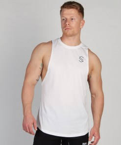 Shaped Split Cut Off T-Shirt - Wit