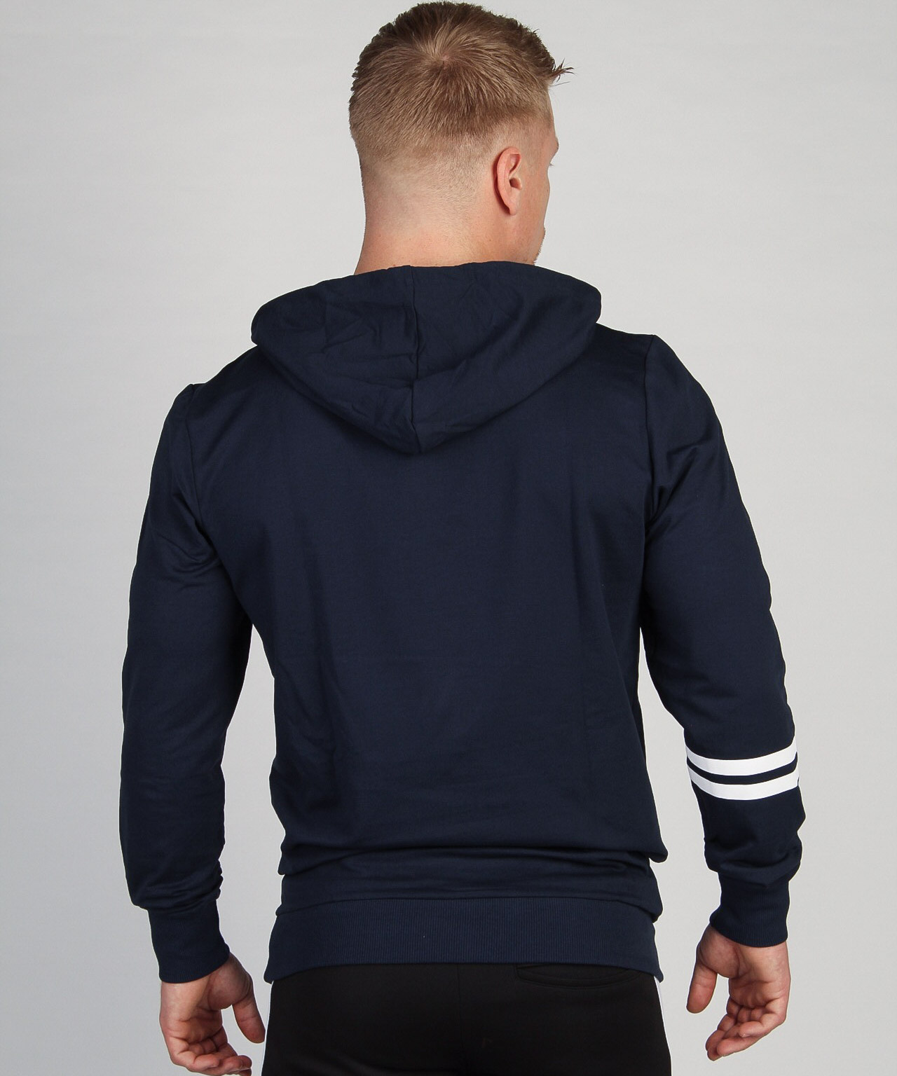Shaped Striped Hoodie Navy