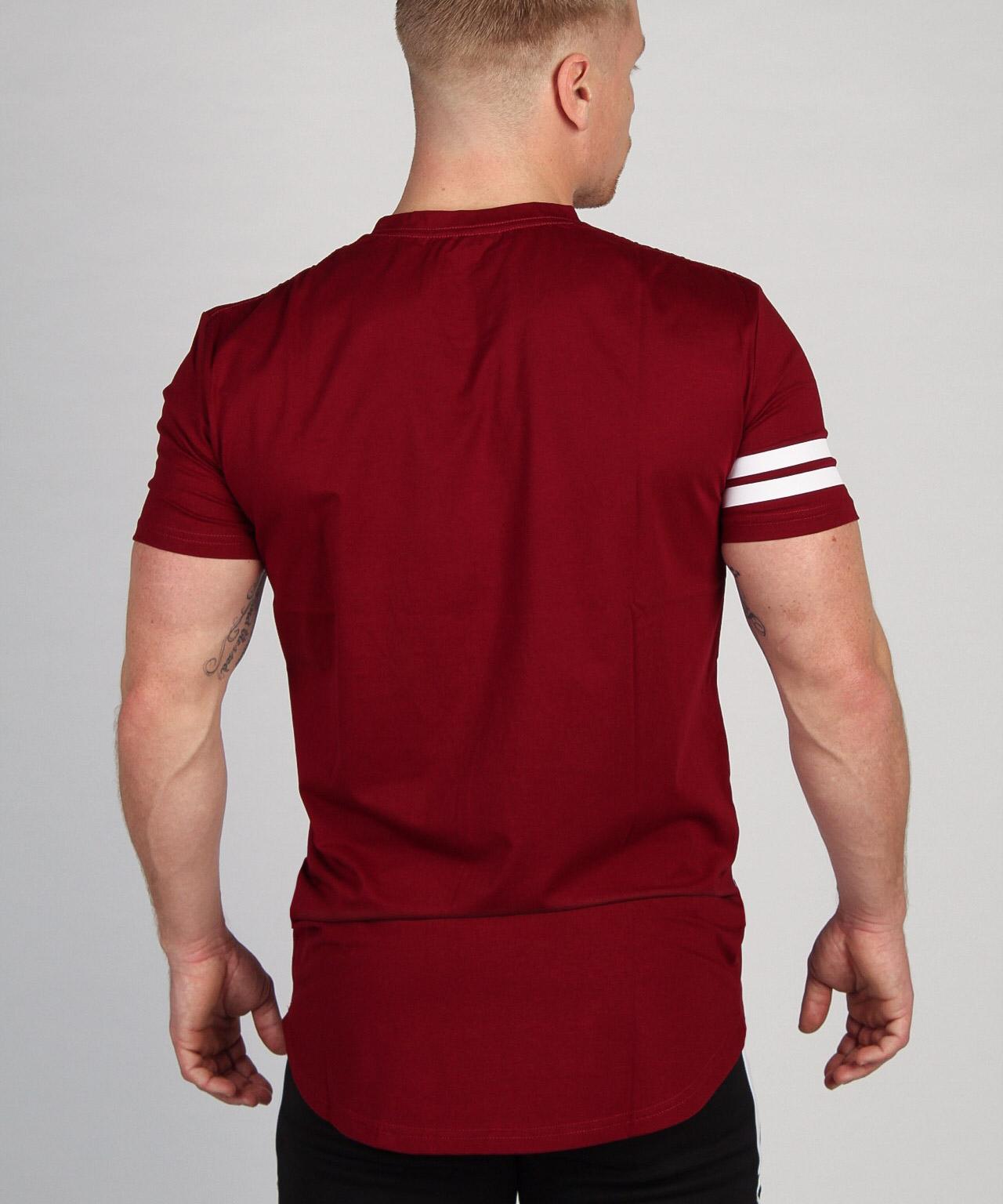 Shaped Striped T-shirt Burgundy