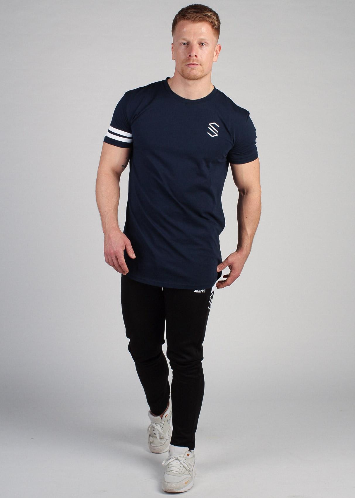 Shaped Striped T-shirt Navy