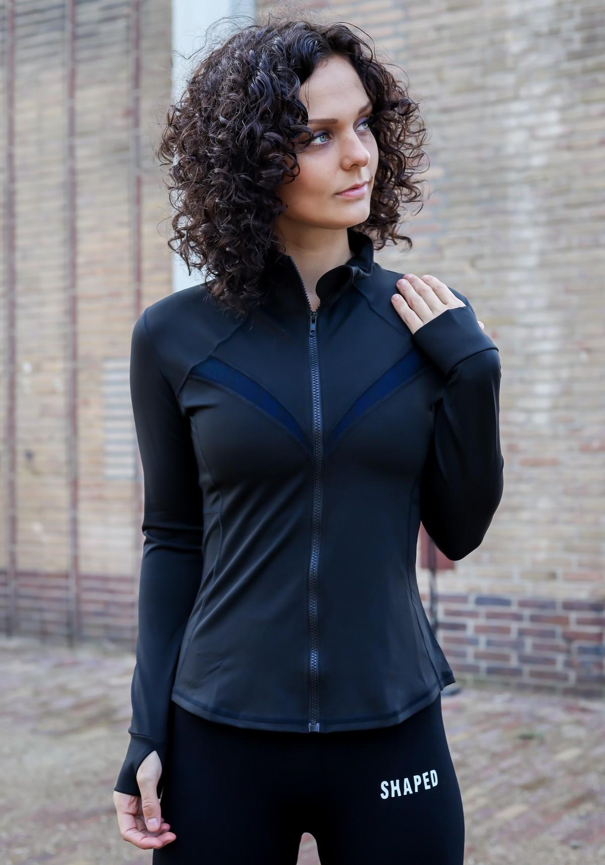 Dames trainingsjack met mesh in blauw en zwart