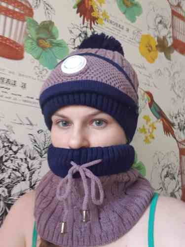 Winter Knitted Scarf Beanie photo review