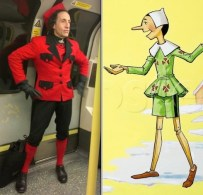 Sallon snapped on the London underground ... Pinocchio drawn by Nadir Quinto
