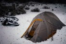 Tent and Bike in Snow