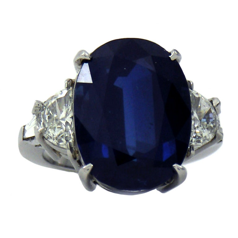 Large Oval Sapphire Diamond Ring At 1stdibs