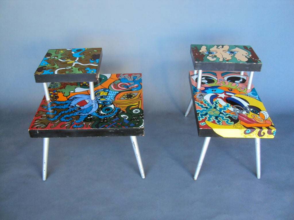 Funky Pair Of Handmade Painted Tables At 1stdibs