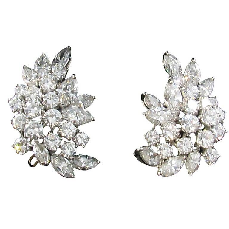 Tiffany And Co Diamond Platinum Crescent Leaf Cluster