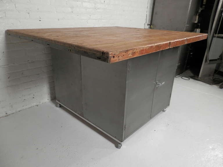 Large Double Sided Industrial Kitchen Island At 1stdibs