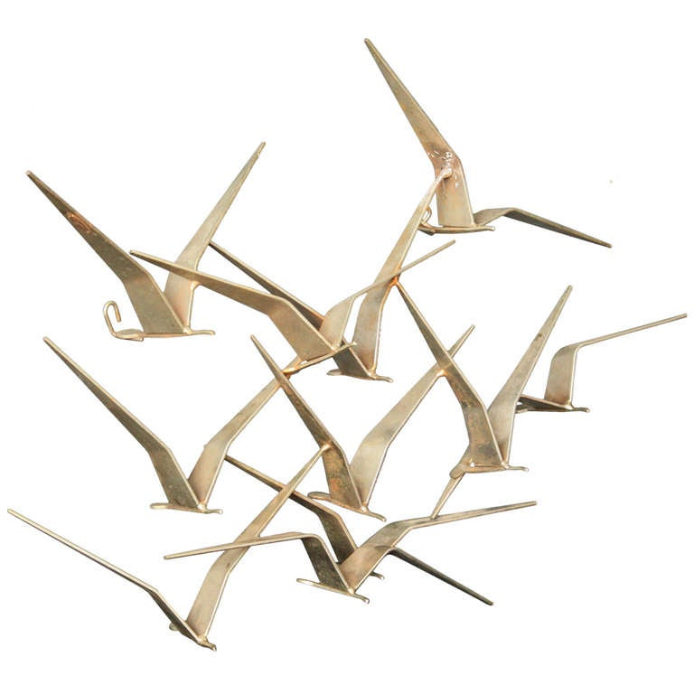 Small Birds In Flight Metal Wall Sculpture By C Jere At