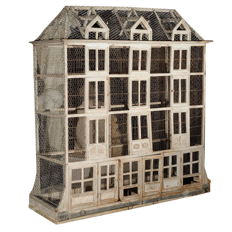 Birdcage Large French Weathered Wood And Chicken Wire