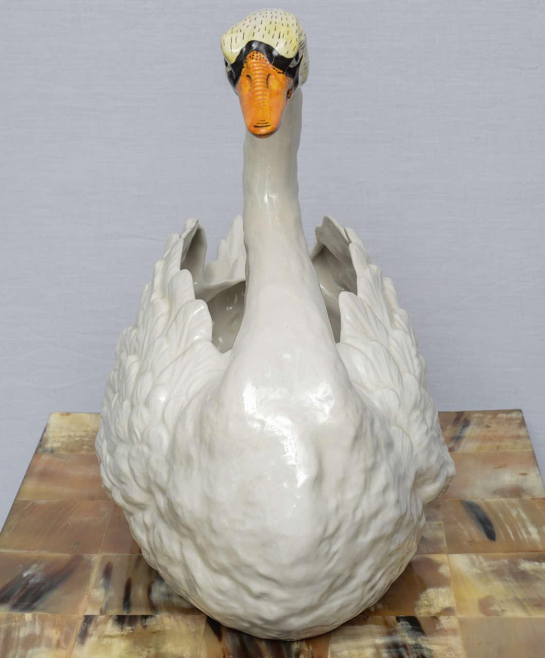 Italian Ceramic Swan Centerpiece Or Planter Hand Painted