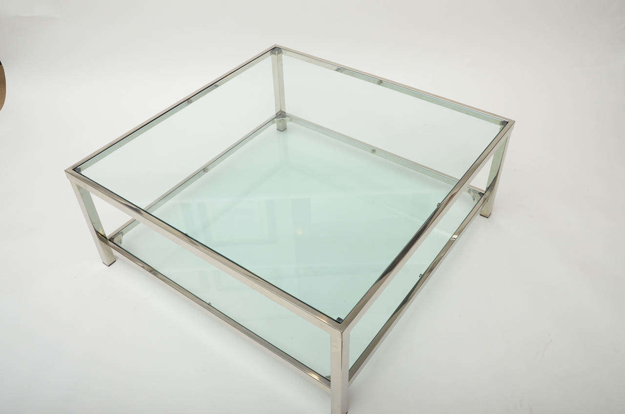 Chrome And Glass Square Coffee Table At 1stdibs
