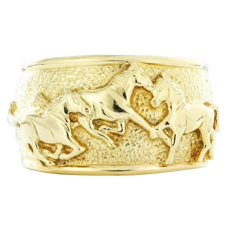 Wide Horse Gold Cuff Bracelet At 1stdibs