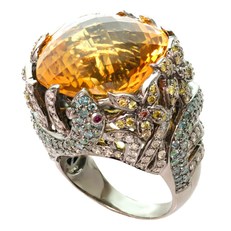 Multicolor Fancy Diamonds And Large Citrine Cocktail Dome