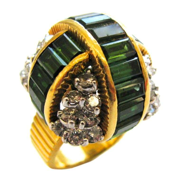 La Triomphe A Diamond and Tourmaline Cocktail Ring c.1960