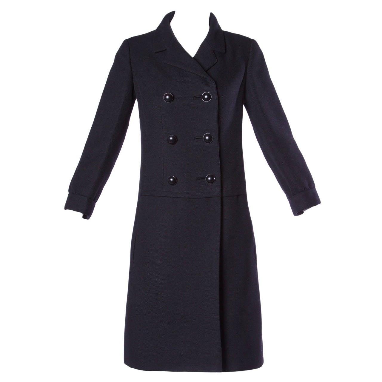 Christian Dior Vintage 1960s 60s Pristine Black Wool Pea Coat At 1stdibs