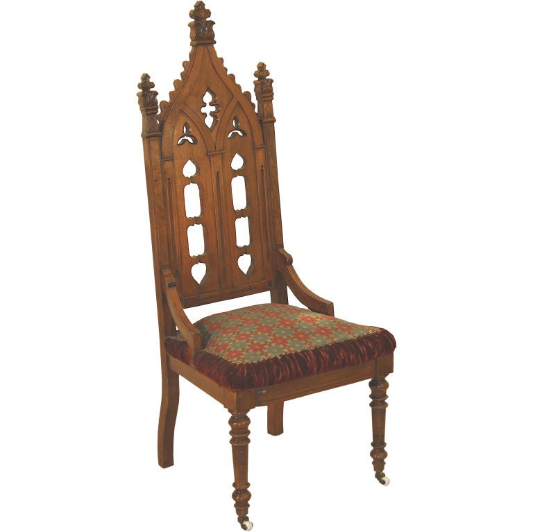 Gothic Revival Hall Chair Original Needlepoint Seat