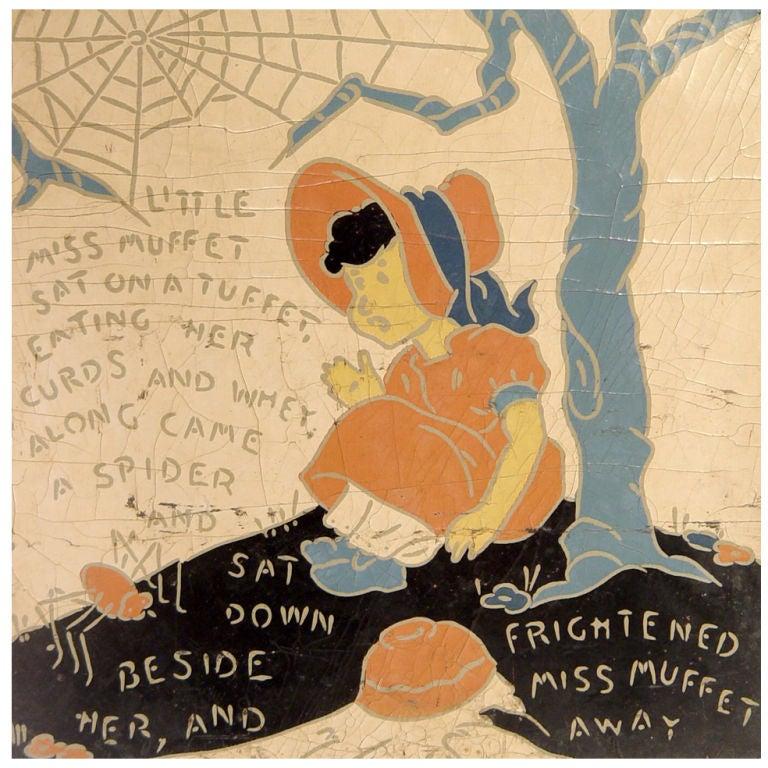 5 Rare Linoleum Nursery Rhyme Panels At 1stdibs