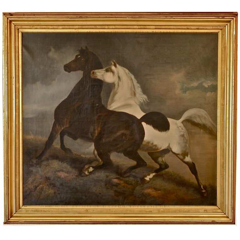 Two Frolicking Horses Oil On Canvas School Of Rosa