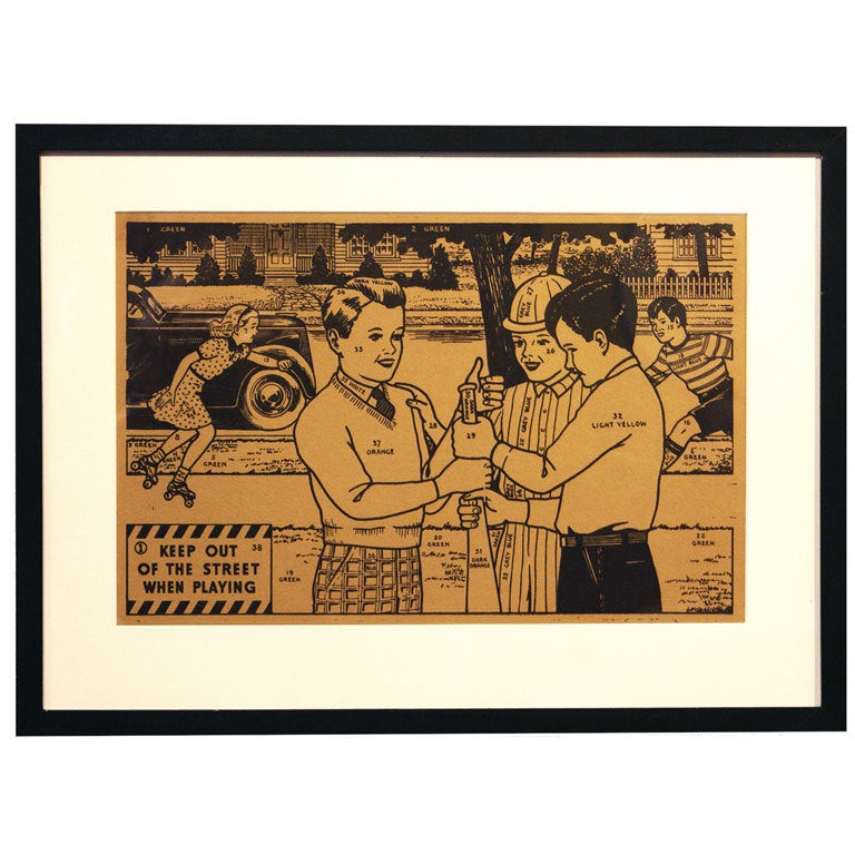 Vintage Framed Paint By Number Safety Signs At 1stdibs